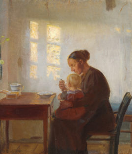 A Mother with her child in a sunny room